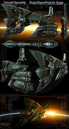 Сoncept Spaceship, Oshanin Dmitriy on ArtStation at https://www.artstation.com/artwork/oncept-spaceship