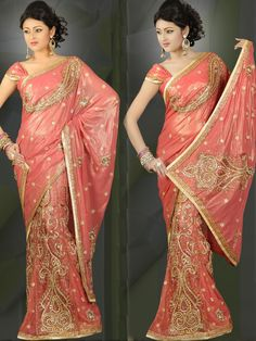 Pretty Coral Pink Shimmer Faux Georgette Lehenga Style Saree with Blouse online, work: Embroidered, color: Pink, usage: Wedding, category: Sarees, fabric: Georgette, price: $232.00, item code: SLSZC3787, gender: women, brand: Utsav
