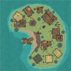Lake coastal river Island Hamlet dock boats captured by fanatic Kuo-Toa battlemaps med Fantasy Castle, Fantasy Map, Fantasy World, Cartographers Guild, D20 Modern, Scale Map, Rpg Map, Building Map, Writing Boards