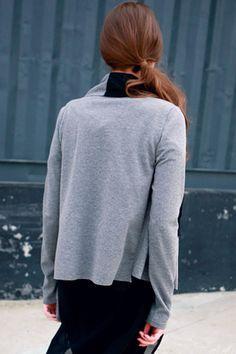 Multi-layered Grey Draped Coat #Romwe