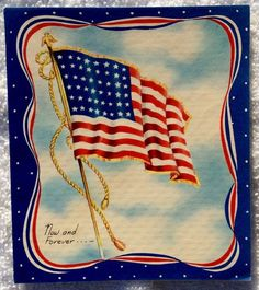 Waving American Flag Patriotic 1940's Vintage Christmas Greeting Card