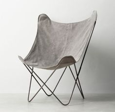 RH TEEN's Tye Stonewashed Canvas Butterfly Chair:Inspired by the 1930s iconic original, our interpretation features a comfortable sling seat, sculptural frame and removable slipcover in stonewashed canvas.