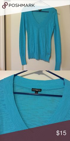 Express V Neck Top Like new. Can be worn in all seasons. Light blue color. So pretty Express Sweaters V-Necks