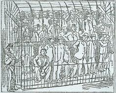 sketch of the 1901 maxi trial of suspected mafiosi in Palermo, Sicily. From L'Ora, May 1901.