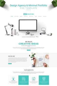 ARP Creation - Design Agency & Minimal Portfolio PSD Template is a Clean and Modern Design.It will be a suitable and smart choice for Design Agency to grow Page Design, Web Design, Design Ideas, Creation Homes, Social Media Logos, Presentation Design, Design Agency, Website, Psd Templates