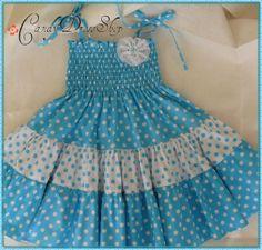 Blue And White Polkadot Dress For Little - Diy Crafts Kids Dress Wear, Girls Party Dress, Little Dresses, Little Girl Dresses, Girls Dresses, Summer Dresses, Baby Girl Dress Patterns, Baby Frocks Designs, Kids Frocks