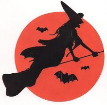 Witch Silhouettes the Moon Halloween Diecut U.S.A. - From Milkweed Antiques on Ruby Lane
