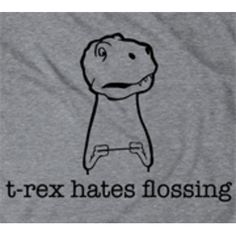 Crazy Dog Tshirts- -Youth T-Rex Hates Flossing T-Shirt Funny Dinosaur Dental Shirt For Kids