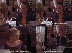 Bloaty is not a word. Haha I loved Rory burning that dumb girl, Shane! Gilmore Girls. Funny scene!