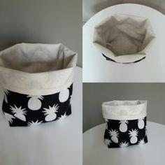 Paniere de rangement tissu ananas fond noir doublure écrue.