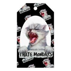 #CAT HATE 2 MONDAY CARTOON GIFT TAG MATTE - #monday #mondays