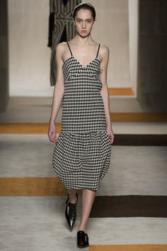 Victoria Beckham | Fall 2016 Ready-to-Wear | 34 Monochrome houndstooth strappy midi dress