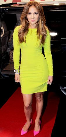 Jennifer Lopez looking STUNNING in a Michael Kors Dress and Casadei heels! We love bright colors! via @Shopafrolic