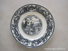 J. Vieillard et Cie Bordeaux 19th Century Humorous Plate Fishing Theme Antique French Transfer Printed Plate www.fatiguedfrenchfinds.com
