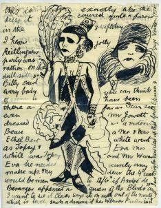 Edward Burra. 'Letter to Barbara Ker-Seymer'. Ink on paper. 2nd June 1928.