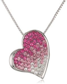 """Carnevale Sterling Silver and Swarovski Elements Faded Pink Heart Pendant Necklace, 18"""" Amazon Curated Collection,http://www.amazon.com/dp/B00CL6GXPM/ref=cm_sw_r_pi_dp_pFC8sb0VQA11JCCS"""