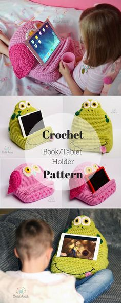 Crochet Pattern for this adorable Book or Tablet Holder. My daughter would love this for her Nabi :) #etsy #tabletstand #tabletholder #affiliate