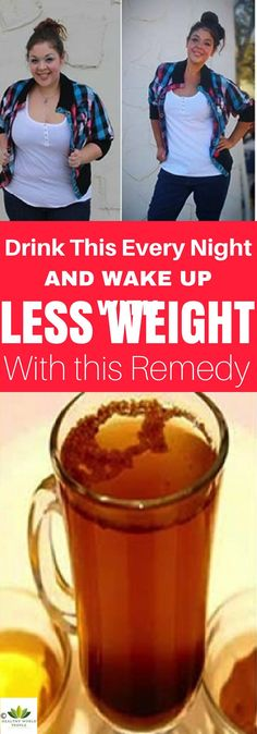 Drink This Every Night and Wake Up With Less Weight – the Remedy Removes the Fat Consumed During the Day Immediately! - Healthy World People Detox Drinks, Healthy Drinks, Healthy Tips, Healthy Weight, Acv Drinks, Lose Weight Naturally, How To Lose Weight Fast, Losing Weight, Weight Gain