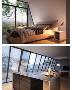 Triangle Cliff House (concept design) by Germany-based architect Matthias Arndt for the design challenge of Lichtect Architecture | More images @bookofcabins #interiors #interiordesign #architecture #decoration #interior #home #design #camper #bookofcabins #homedecor #decoration #decor #prefab #diy #campervan #compactliving #fineinteriors #cabin #shed #tinyhomes #tinyhouse #cabinfever #FABprefab #tinyhousemovement #airstream #treehouse #cabinlife #cottage
