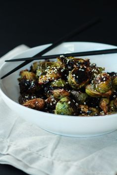 Honey Soy Roasted Brussels Sprouts, just five ingredients and done in 20 minutes. A healthy side dish you need to have!   joyfulhealthyeats.com #recipes