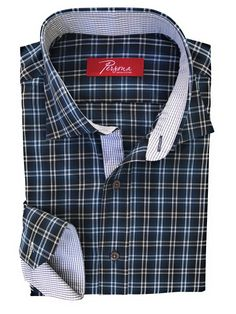 Persona Premium Dress Shirt Tea and navy plaid with grey micro check accents