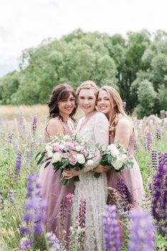 An epic Lake Tekapo wedding, surrounded by mountain views and lupins at the height of spring. Married in the Church of the Good Shepherd. So many colourful summer blooms created the backdrop for so many bridal portraits! Bridal party portraits amongst the lupins.   Anna Hart Photography   #aucklandweddingphotographer #weddingphotographer #nzweddingphotographer #aucklandwedding #nzwedding Lake Tekapo, Anna, The Good Shepherd, Bridesmaid Dresses, Wedding Dresses, Bridal Portraits, Summer Wedding, Backdrops, Bloom
