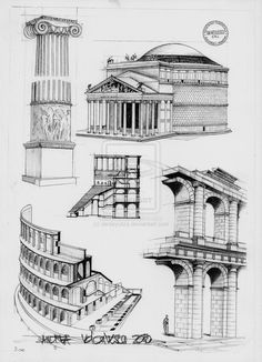 Roman Architecture by dedeyutza on DeviantArt - Although the Romans architectural ideas of structure have always fascinated me, some of their plans - Architecture Classique, Architecture Antique, Architecture Drawing Plan, Architecture Drawing Sketchbooks, Romanesque Architecture, Roman Architecture, Classic Architecture, Historical Architecture, Amazing Architecture