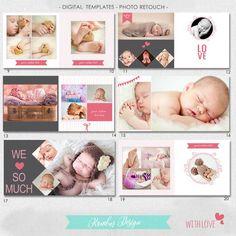 PSD 30 pages Album Template Newborn baby image 1 Adobe Photoshop, Lightroom, Conception Album, Digital Photo Album, Baby Photo Books, Wedding Album Design, Wedding Albums, Shower Bebe, Baby Shower