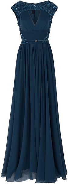Elie Saab Chiffon Beaded Cap Sleeve Gown in Blue