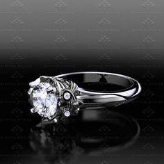 'Master Sword' 1.20ct Diamond Sterling Silver Zelda Triforce Ring