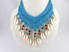 Collier Cowrie Shells Micro Macrame Turquoise Choker Necklace