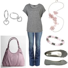 Soft Pink & Gray, created by jklmnodavis.polyvore.com
