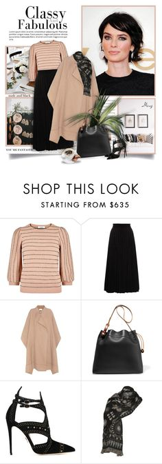 """""""Classy And Fabulous"""" by thewondersoffashion ❤ liked on Polyvore featuring Valentino, Yves Saint Laurent, Chloé, Tom Ford, Paul Andrew and Alexander McQueen"""