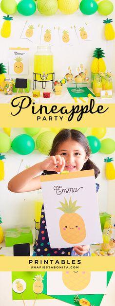 Kit para imprimir de piña ideal para fiestas de cumpleaños, fiestas de verano #pineappleparty #summerparty