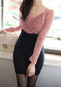 #SheInside     Pink V Neck Long Sleeve Slim Bodycon Dress