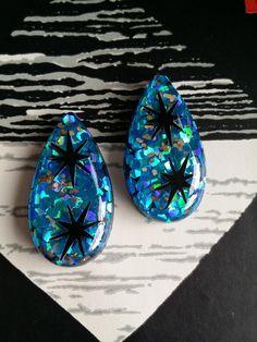 Confetti lucite XL teardrop earrings  Handmade by desperatebeatnik, €21.00