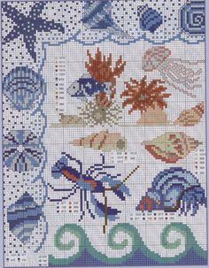 Cross-stitch Tropical Fish Shells, part Gallery. Cross Stitch Sea, Cross Stitch Borders, Cross Stitch Animals, Cross Stitch Charts, Cross Stitch Designs, Cross Stitching, Cross Stitch Embroidery, Cross Stitch Patterns, Beading Patterns