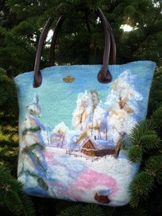 Felted handbag Winter Blue White Cool Natural by AlexandraApratova