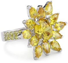 """CZ by Kenneth Jay Lane """"Classic CZ"""" Marquessa Flower Ring, S"""