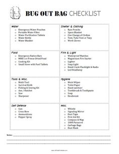 This is a very simple but rather complete Bug Out Bag checklist. I like how it's grouped into sections.