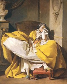"""La Mauvaise Nouvelle """"bad news """", 1740, by Jean-Baptist-Marie Pierre  wonderfully evocative. The yellow seems to highlight rather than lessen her sorrow."""