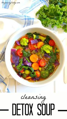 Cleansing Detox Soup. Immune-boosting, plant based vegan, oil free, and gluten free. Great for fighting off colds and flu while cleansing with whole foods.
