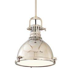 Pelham Pendant Light by Hudson Valley Lighting - Color: Silver - Finish: Polished Nickel - Farmhouse Pendant Lighting, Industrial Pendant Lights, Kitchen Lighting Fixtures, Kitchen Pendant Lighting, Kitchen Pendants, Island Pendants, Light Fixtures, Glass Diffuser, Hudson Valley Lighting
