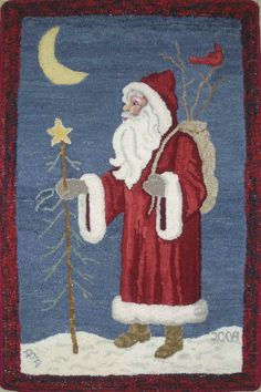 Anita Adrian of Cranberry Township, Pennsylvania, hooked Kris Kringle. Anita hooked this as if it was an elegant Victorian Kris Kringle. The shadings in his coat are wonderful as is her sky.