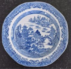 Miles Mason blue & white transfer tea plate, impressed mark c.1810 (B425) | eBay