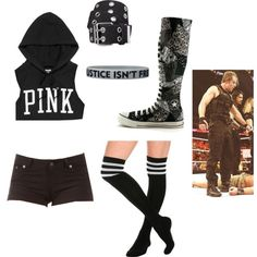 Mix Tag Match w/ Dean Ambrose by lola-guadalupe-delgado on Polyvore featuring Victoria's Secret, Converse and Xhilaration