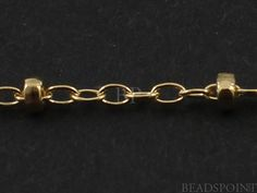 14k Gold Filled  Oval Cable Chain with Disc Beads by Beadspoint, $9.99