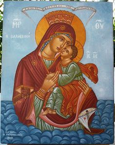 "Theotokos Thalassine (of the Sea) "" Hail, Immaculate, higher than the heavens, who without birth-­pangs carried in your womb the Foundation of the earth! Orthodox Catholic, Catholic Art, Religious Art, Madonna, Faith Of Our Fathers, Ancient Goddesses, Images Of Mary, Christian Artwork, Queen Of Heaven"