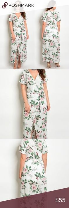 Floral Maxi Dress - Host Pick! This stunning piece is covered in beautiful pink roses. The slit in the skirt makes both elegant, and easier to walk in! So cute! Purple Snow Dresses Maxi