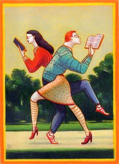 Lorenzo Mattotti - couple cross reading - ILLUSTRATIONS - BOOKS - art